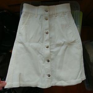 White button up denim skirt